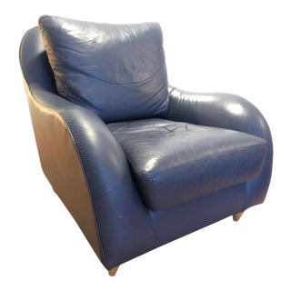 Early 21st Century Navy Leather Armchair For Sale