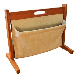 Brdr Furdo Danish Modern Teak and Linen Double Magazine Rack For Sale
