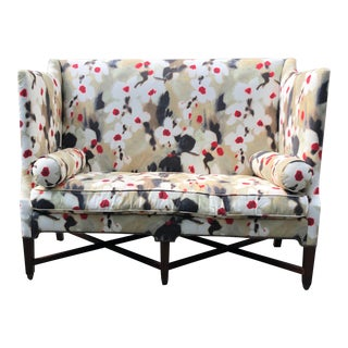 Painterly Floral Hollywood Regency Modern Settee For Sale