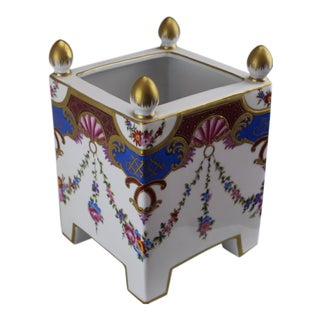 Pasargad DC Italian Square Hand-Painted/Gold Vase For Sale
