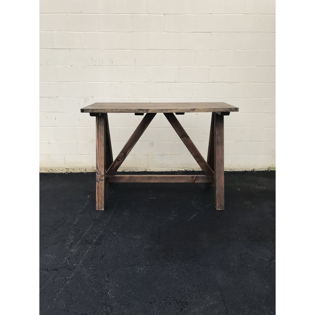 Rustic Wooden Rectangular Center Table For Sale - Image 9 of 9
