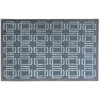 Stark Studio Rugs Contemporary Doucette Ash 50% Wool/50% Silk Rug - 6′ × 9′3″ For Sale