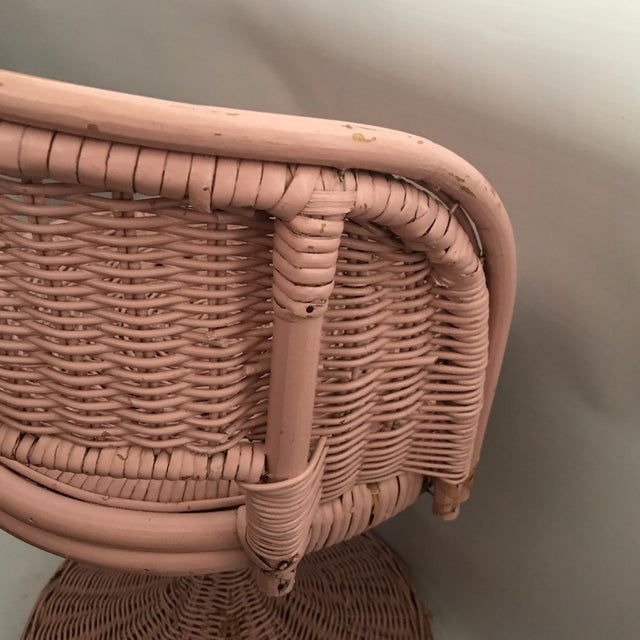 Vintage Wicker Swivel Chair For Sale - Image 10 of 11
