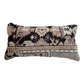 1960s Vintage Black Orchid Kilim Lumbar Pillow For Sale