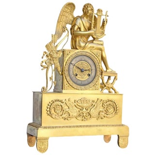 Early 18th Century Antique French Directoire Ormolu Bronze Clock For Sale