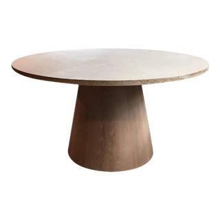 Travertine and White Oak Center Table