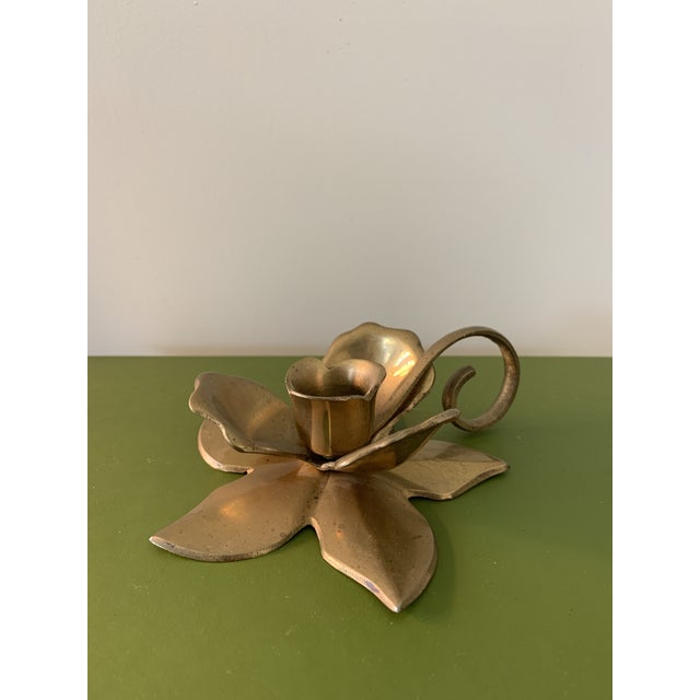 Modernist Brass Floral Candlestick Holder With Handle For Sale - Image 4 of 6
