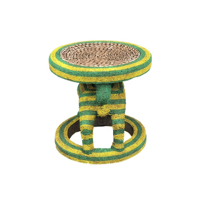 """Lg African Beaded Wood Bamileke Stool /Table Cameroon 18.5'""""h For Sale - Image 4 of 11"""