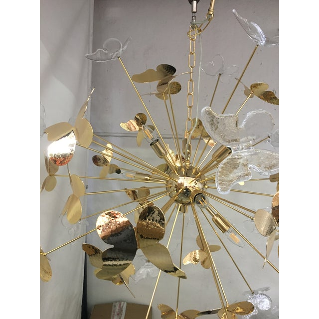 Murano Italian Hand Made Gold 24k Butterfly Sputnik Chandelier For Sale - Image 4 of 13
