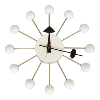 George Nelson White Ball Clock For Sale