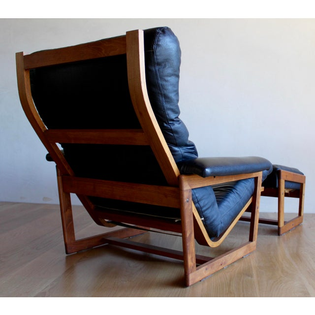 Brown Swedish Mid Century Lennart Bender for Ulferts Mobelfabrik Walnut Bentwood Lounge Chair and Ottoman Danish Style - a Pair For Sale - Image 8 of 9