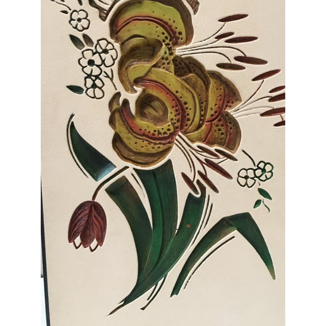 Illustration Mid Century Chalkware Botanic Plaques - a Pair For Sale - Image 3 of 12
