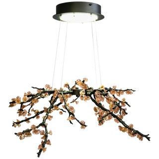 Sculpture Chandelier Handmade Almond Three Pendant Lamp in Cast Brass & Glass For Sale