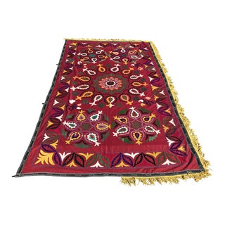 Handmade Red & Yellow Suzani Bedspread For Sale