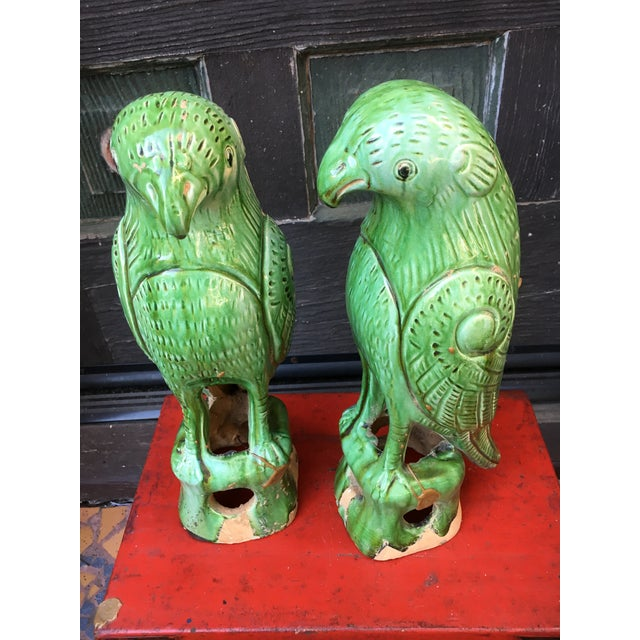 Clay Vibrant Chinese Majolica Parrots, a Pair For Sale - Image 7 of 9