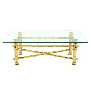 Gold Leaf Faux Bamboo Base Coffee Table with Thick Glass Top For Sale