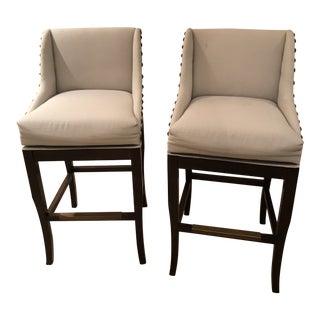 Modern Ballard Swivel Upholstered Bar Stools- A Pair For Sale