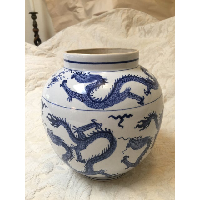 Chinese Antique Chinese Blue and White Dragon Urn/Vase For Sale - Image 3 of 8
