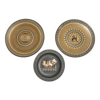 Vintage Black & Mustard Greek Plates - Set of 3 For Sale