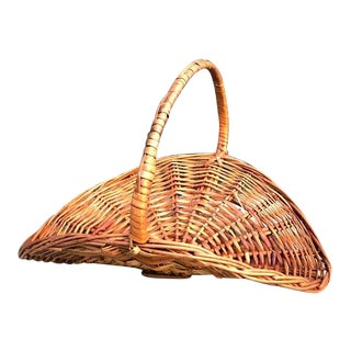 1970s Wicker Basket Firewood Holder For Sale