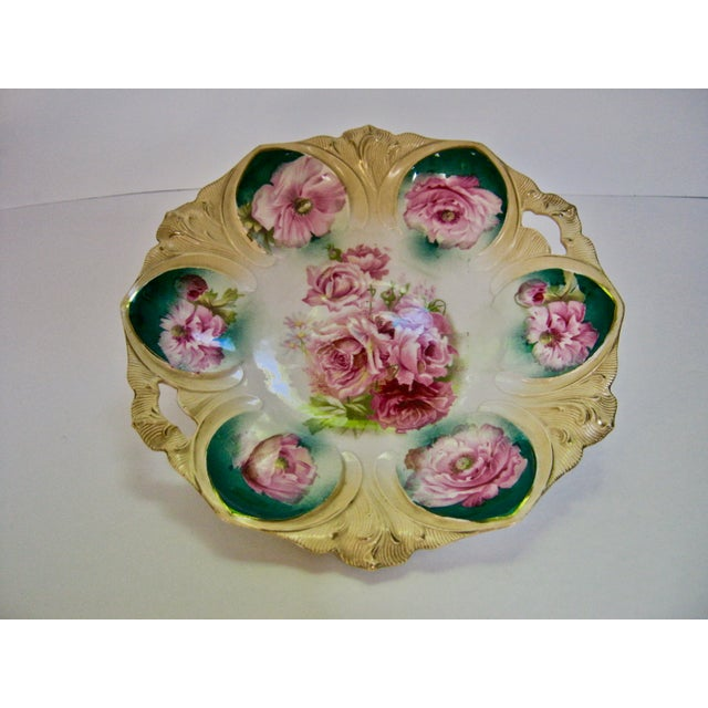 Gorgeous Antique 1890s hand painted roses pie crust edge open handles cake plate/bow l. Signed: RS Prussia w/Wreath and...