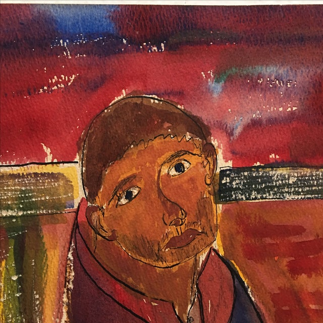 Vintage Abstract Painting Portrait of a Man - Image 4 of 11