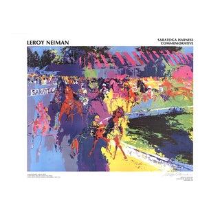 "Leroy Neiman Saratoga Harness 18.5"" X 24"" Poster 1974 Expressionism Multicolor Horse, Races, Jockey, New York, Saratoga For Sale"