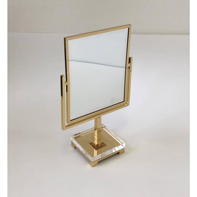 Polished Brass and Acrylic Vanity Mirror by Charles Hollis Jones - Image 7 of 8