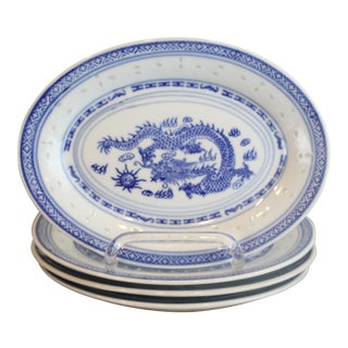 Blue and White Dragon Roll Plates - Set of 4 For Sale
