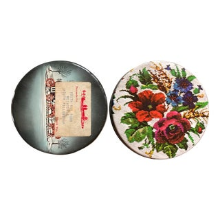 Vintage Needlepoint Floral & Sleigh Ride Tins - a Pair For Sale