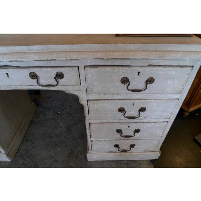 19th Century English XIX Painted Knee-Hole Partner Desk For Sale In Los Angeles - Image 6 of 12
