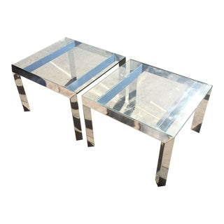 Vintage 1970s Chrome Side Tables - Pair For Sale