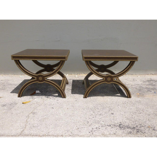 Vintage Post Modern Studded Leather Stretcher Tables- a Pair For Sale - Image 13 of 13