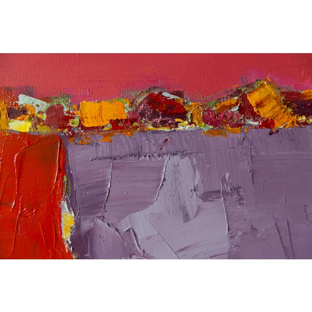 """Abstract Bill Tansey """"Red Road"""" Abstract Oil Painting on Canvas For Sale - Image 3 of 4"""