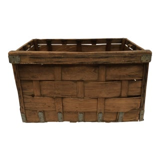 Vintage Woven Wood Industrial Laundry Basket For Sale