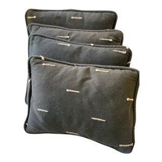 Custom Made Linen Blend Decorative Pillows - Set of 4 For Sale