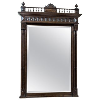 19th Century Pier Glass in an Eclectic, Oak Frame For Sale