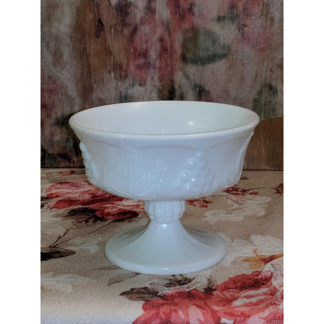 Vintage Milk Glass Serving Plate/Pedestal Dessert Dish With Grapevine Pattern For Sale - Image 13 of 13