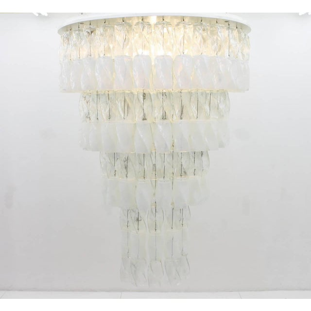 "Very large and rare ""Soffio"" Glass Chandelier by Roberto Pamio & Renato Toso for Leucos, Italy 1970. Total 384 pieces of..."