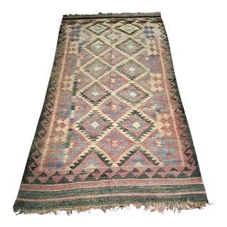 "Vintage Turkish Earth Tone Flat-Weave Kilim Carpet - 4' 1"" X 10' For Sale"