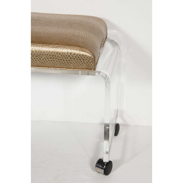 Mid-Century Modernist Waterfall Lucite Stool with Faux Bronze Metallic Python For Sale - Image 4 of 7