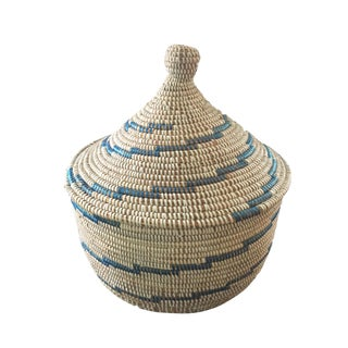 "Basket W/ Lid Senegal West Africa 14.5"" H For Sale"