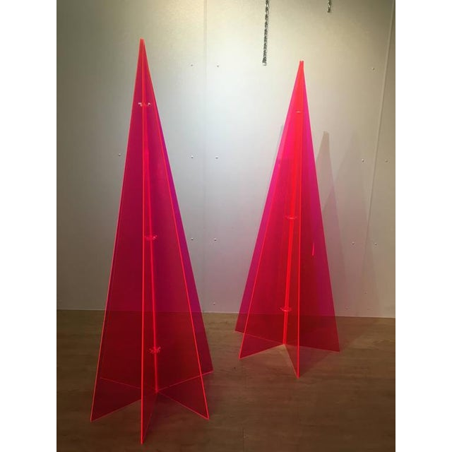 1970s Pink Lucite Tree Form Sculptures - a Pair - Image 3 of 8