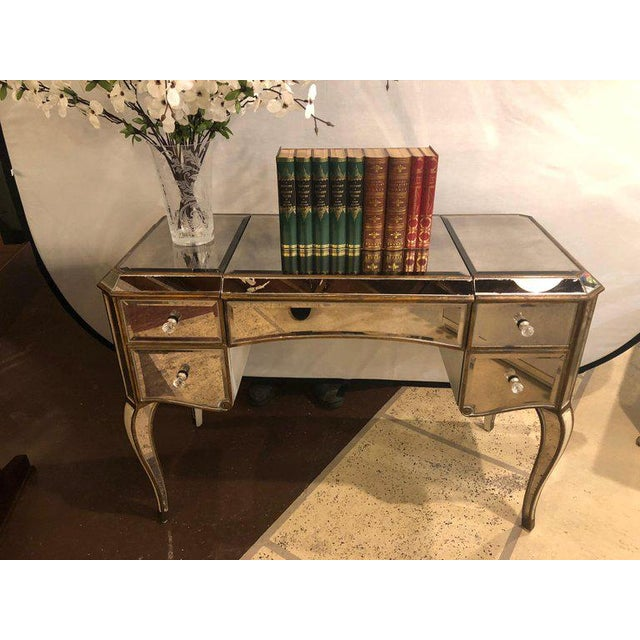 Hollywood Regency Hollywood Regency Style Mirror Flip Top Vanity Desk or Dressing Table For Sale - Image 3 of 12