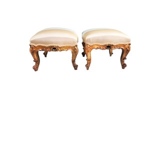 """Antique French Foot Stools   Louis XV W/Silk Pair 15.5""""h by 17""""w Preview"""
