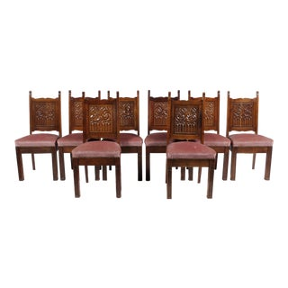 Neo Gothic Medieval-Style Church Chairs, S/8