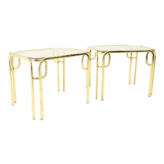 Morex Italian Mid Century Brass and Glass Side End Tables - Pair For Sale
