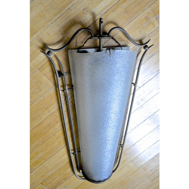 Raymond Subes Pair of French Art Deco Wall Sconces in Bronze and Frosted Glass For Sale - Image 6 of 7