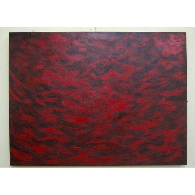 Feathery Red Abstract Painting - Image 7 of 7