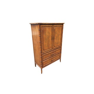 1970s Chinese Chippendale Collection Faux Bamboo Armoire